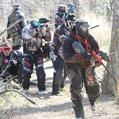 Paintball guns in action