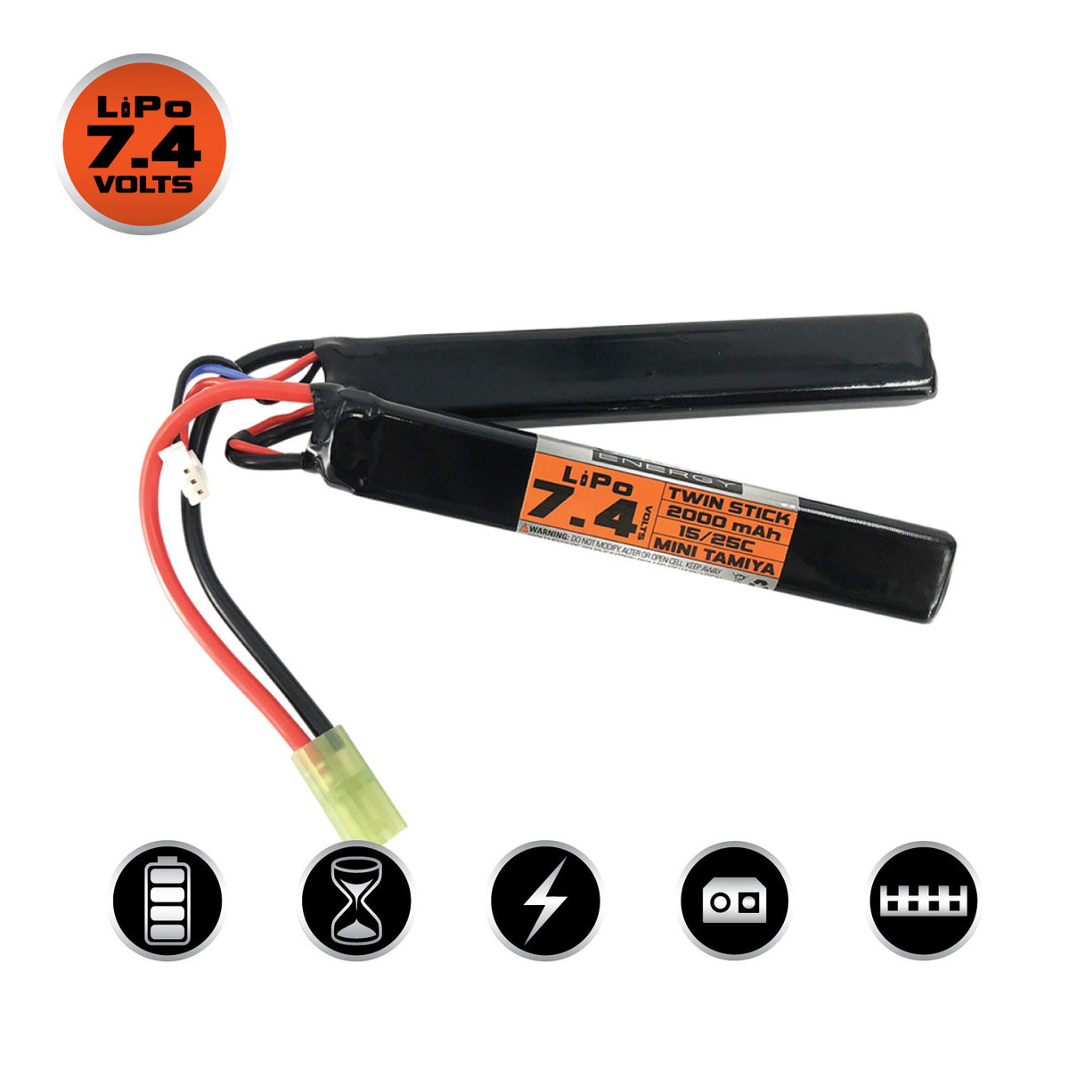 View larger image of Valken LiPo 7.4V 2000mAh 25C Split Airsoft Battery (Small Tamiya)
