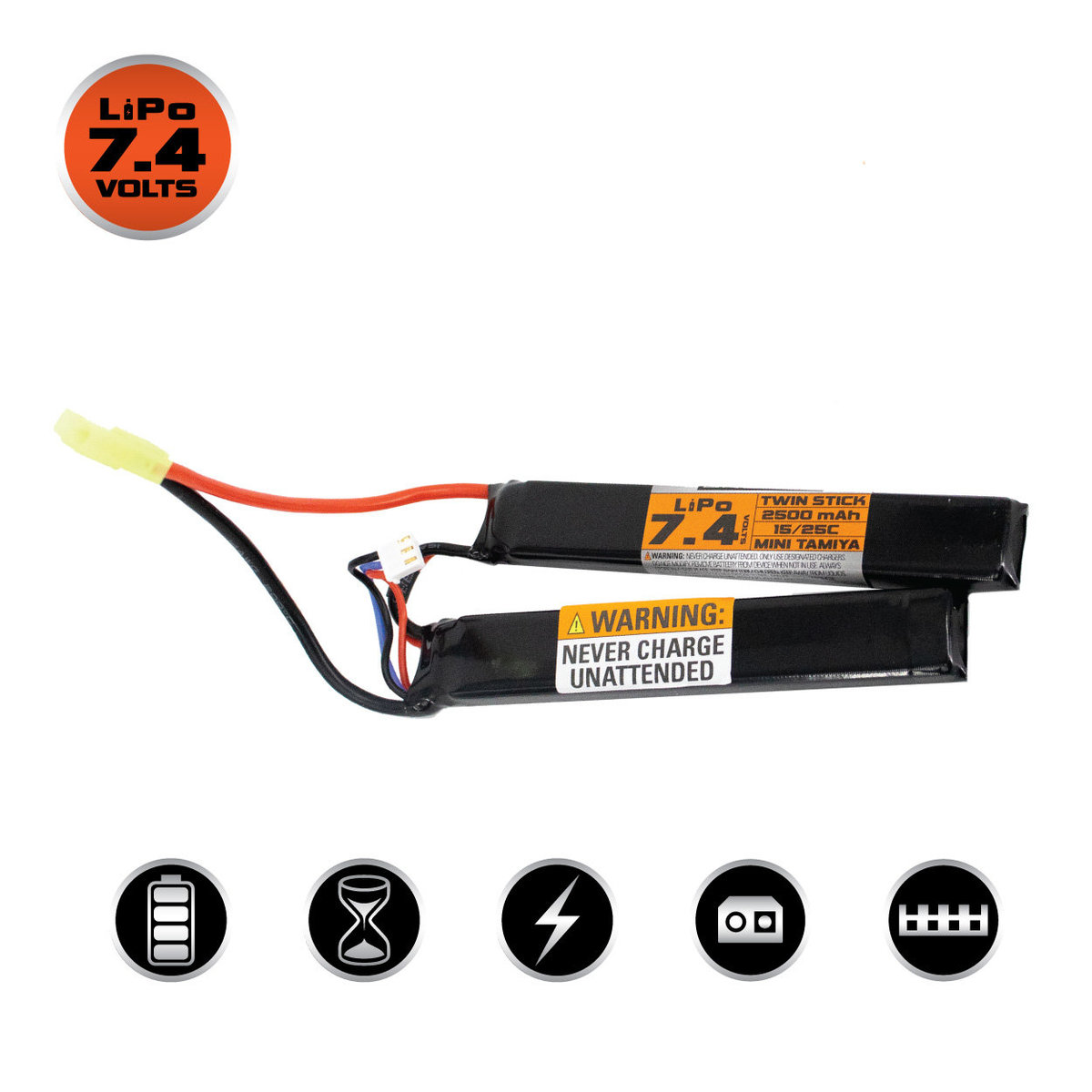 View larger image of Valken Lipo 7.4v 2500mAh 15/25C Split (Small Tamiya)
