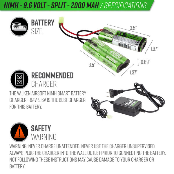View larger image of Valken NiMh 9.6V 2000mAh Split Airsoft Battery (Small Tamiya)