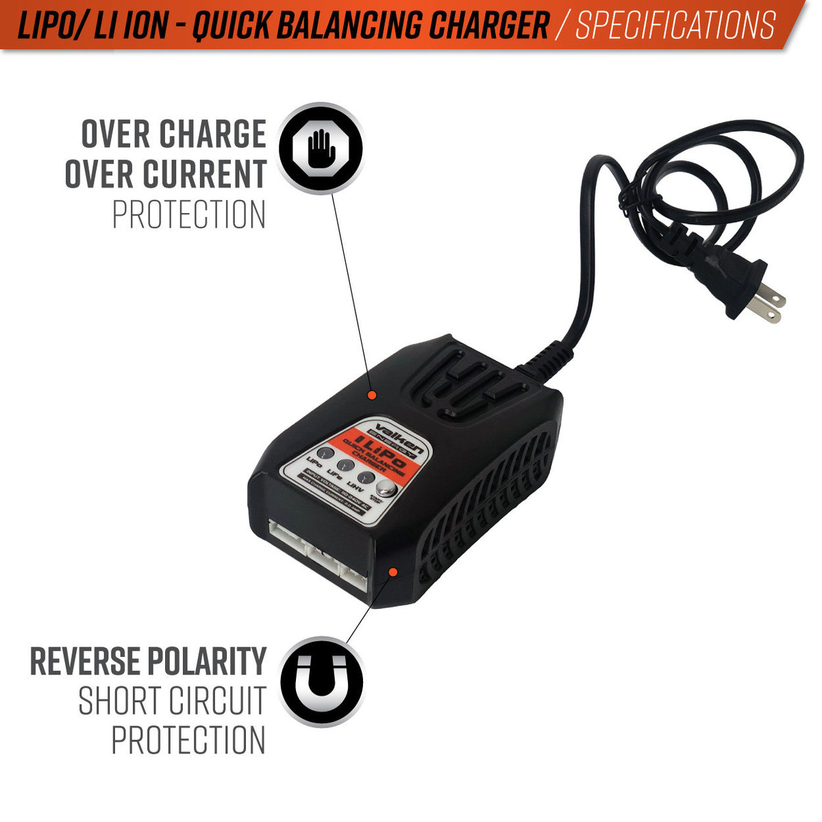 View larger image of Valken 2-4 Cell Lipo/LiHV Quick Balancing Smart Charger (USA)
