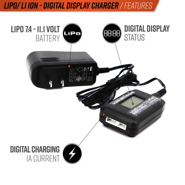 View larger image of Valken 2-3 Cell Li-Ion Digital Display Smart Charger (USA)