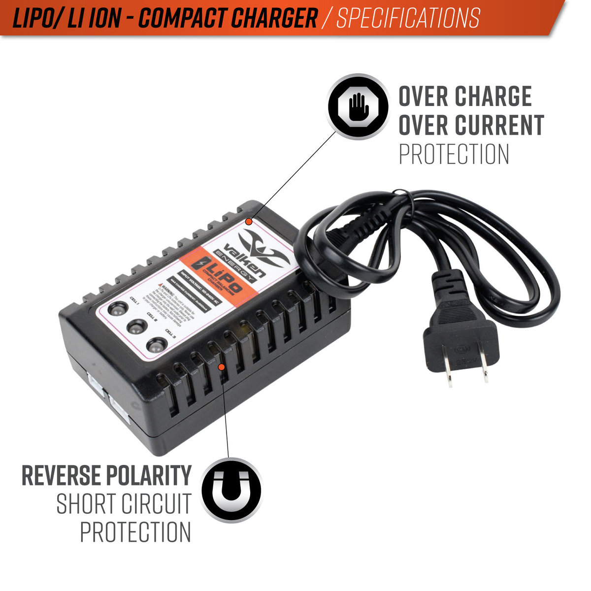 View larger image of Valken 2-3 Cell LiPo Compact Balancing Smart Charger (USA)