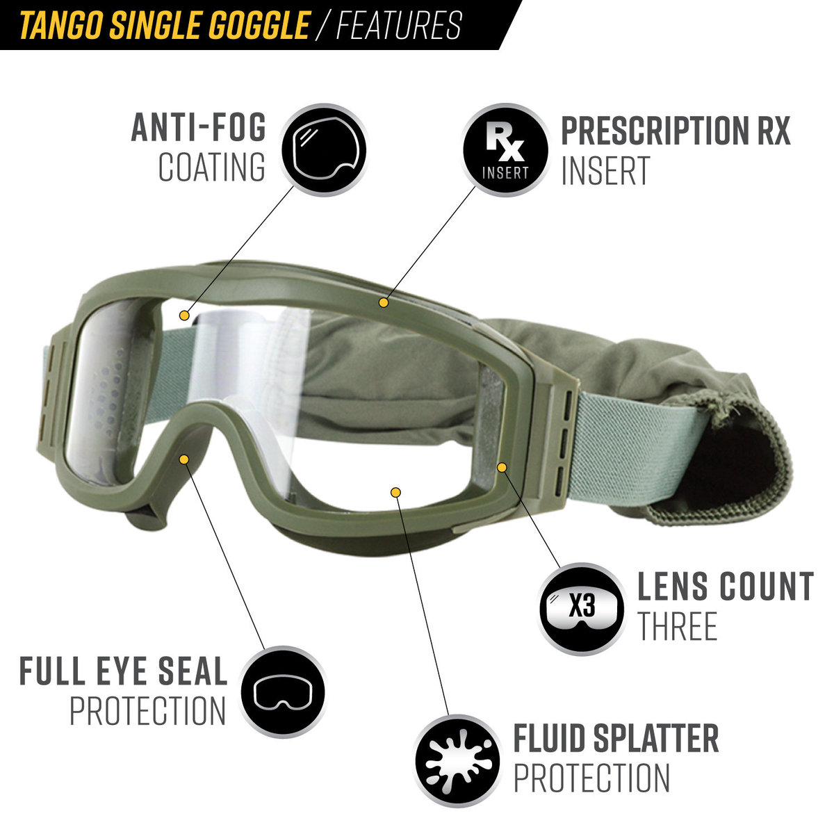 View larger image of Valken Tango Single Lens Airsoft Goggles