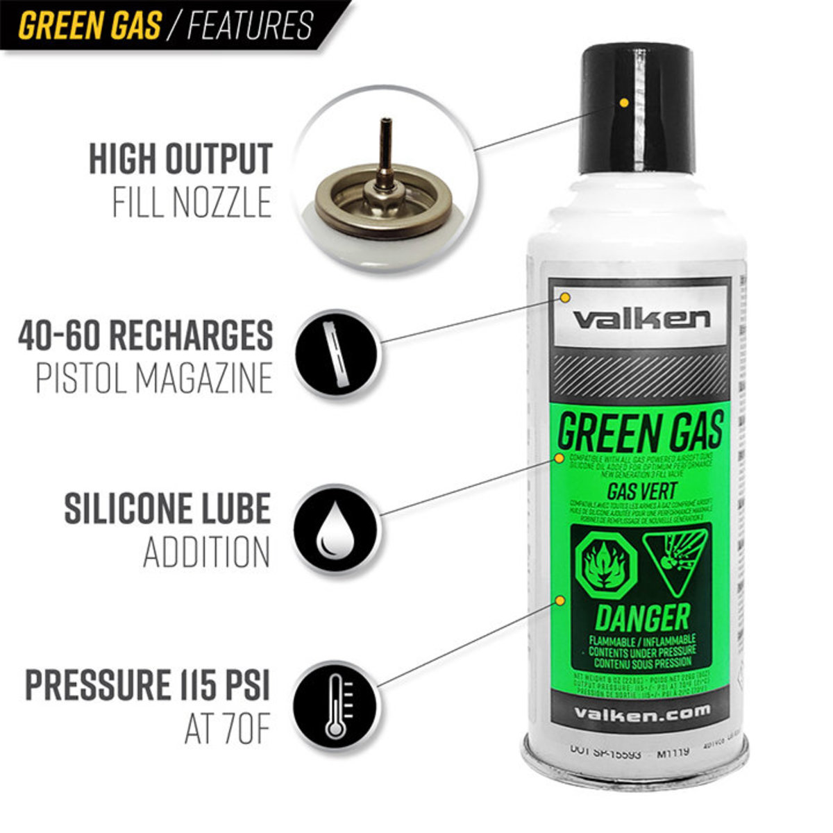 View larger image of Valken 10 oz Green Gas - Single Can