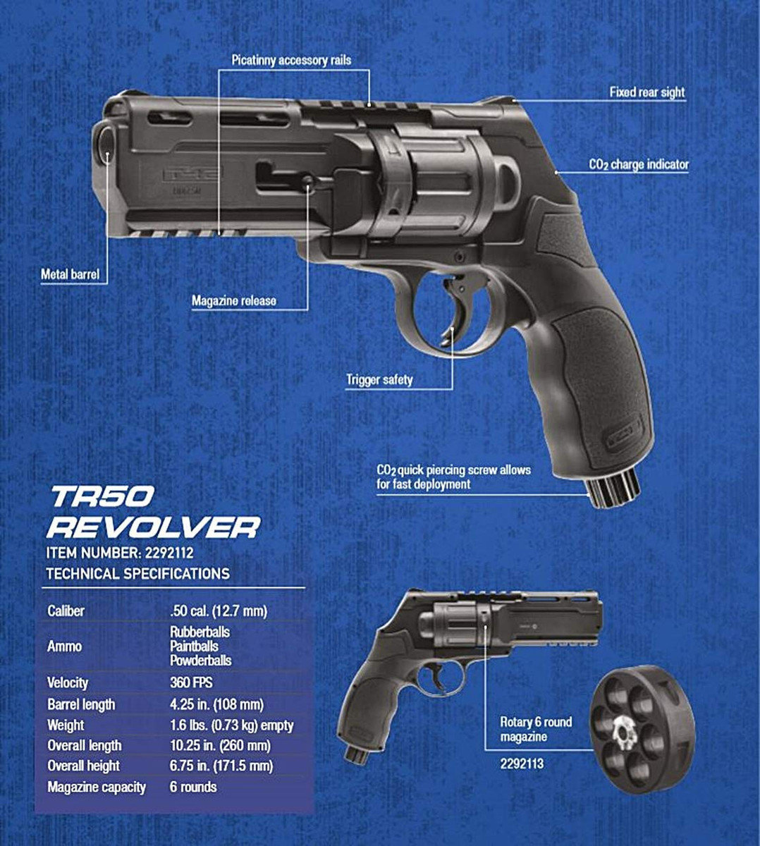 View larger image of T4E TR50 .50 Caliber Paintball Revolver by Umarex - Combat Grey