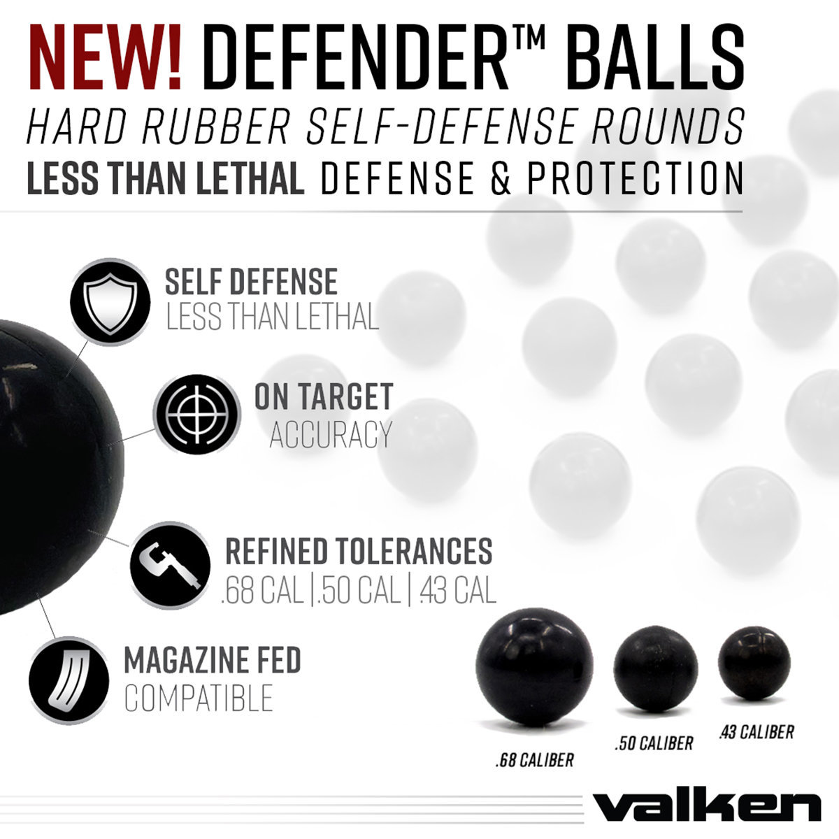 View larger image of Valken Defender .68 Caliber Hard Rubber Balls - 25ct
