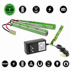 Valken NiMh Power Kit - 9.6V 1600mAh Split Airsoft Battery & 1A Smart Charger (USA)