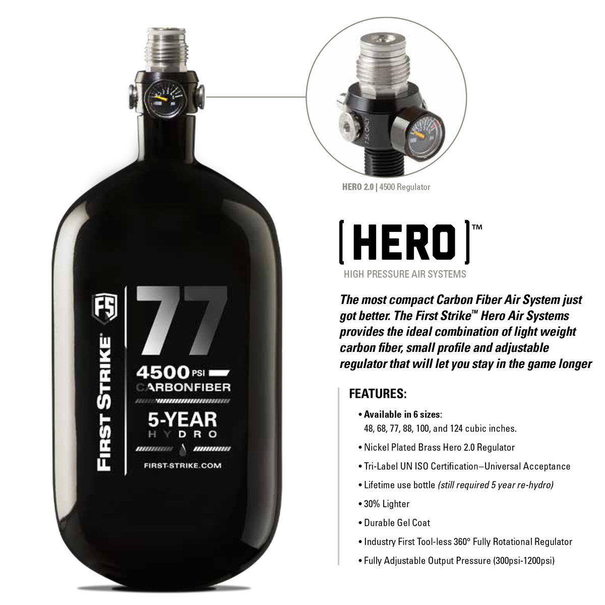 View larger image of First Strike HERO 2 77/4500 DOT/TC (EU) Paintball Compressed Air Tank